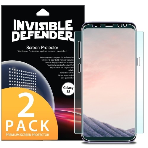 best service d9ab6 3b5c2 Galaxy S8 Screen Protector, Invisible Defender [Full Coverage][2-Pack] Edge  to Edge Curved Side Coverage Guaranteed [Case Comp