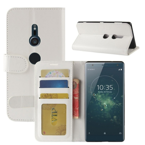 Leather Wallet Flip Case for Sony Xperia Xz2 - White