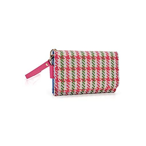 dfd5b3609b Kroo Clutch Wristlet Wallet Case for Smartphones up to 4-Inch - Non-Retail  Packaging - Pink Houndstooth and Magenta