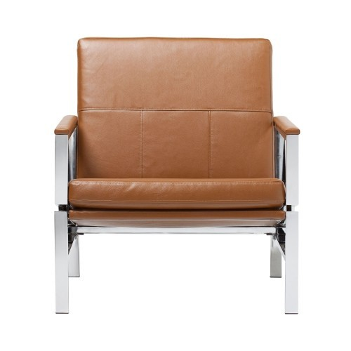 Studio Designs Atlas Caramel Bonded Leather Accent Chair With Padded