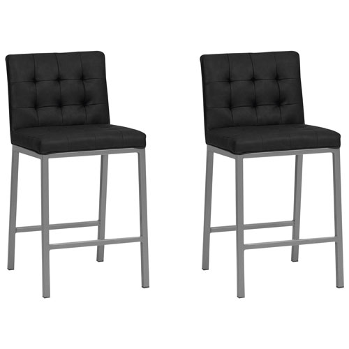 Strange Olin Contemporary Counter Height Barstool Set Of 2 Black Grey Pabps2019 Chair Design Images Pabps2019Com