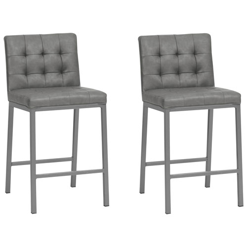 Olin Contemporary Counter Height Bar Stool Set Of 2 Slategrey