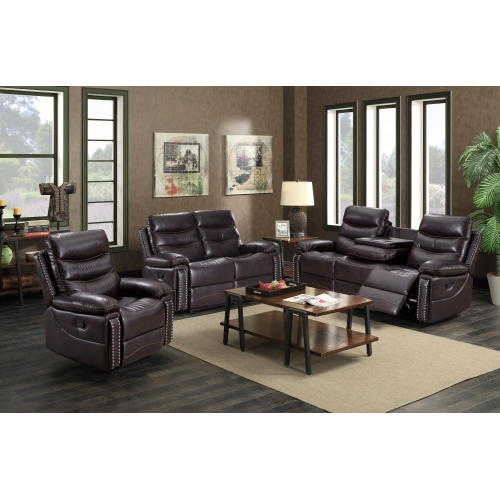 Alux A-Class Luxury Products Elite Collection 3 pc Air Leather Power Recliner Sofa Set with USB ports - Colour Chocolate Brown