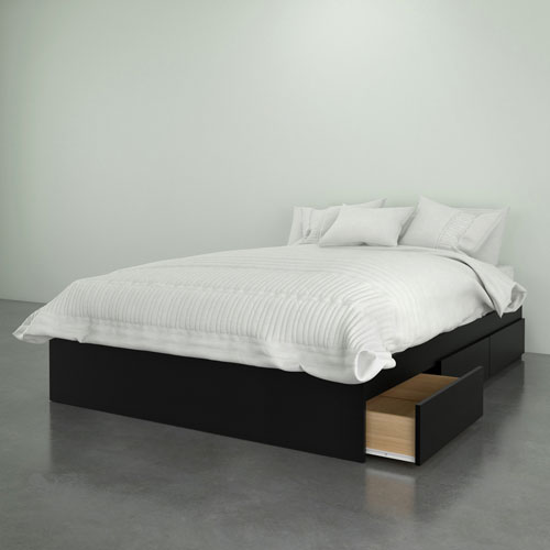 Nexera Contemporary Storage Bed - Double - Black : Beds & Bed Frames ...