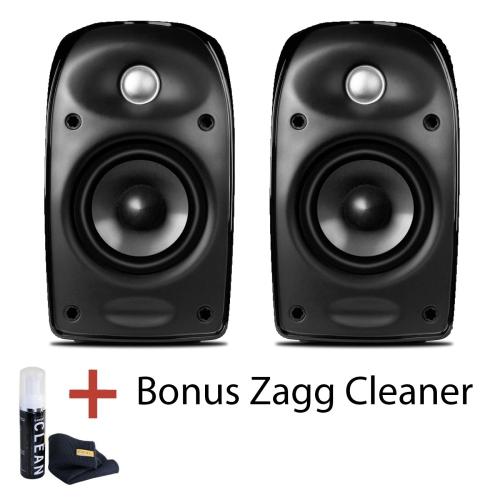 Polk Audio TL2 Blackstone Satellite Speaker Black 1 Pair With Bonus Zagg Cleaner Bookshelf Speakers