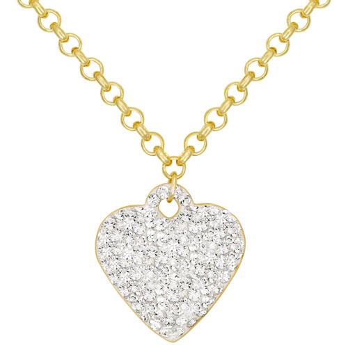 Chaîne en or plaqué de 18 po et pendentif en forme de coeur en or plaqué de 10 ct