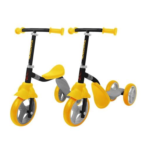 Swagtron K2 Toddler 3 Wheel Scooter & Ride-On Balance Trike, Yellow, English