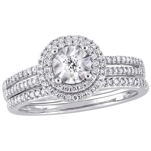 9 Ct Or Blanc Ovale Émeraude & Diamant Serti Bague Fine Rings