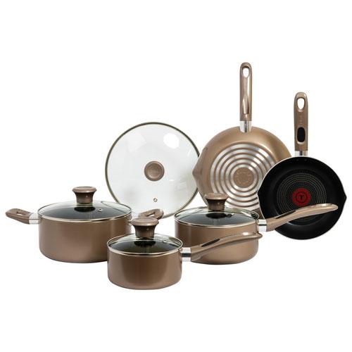 T-Fal Excite 9-Piece Aluminium Cookware Set - Champagne