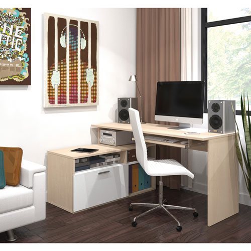 Modula L Shaped Desk With Keyboard Tray Northern Maplewhite
