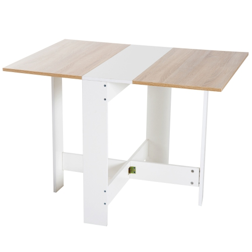Homcom Drop Leaf Wood Folding Dining Table Space Saving White Oak Best Buy Canada