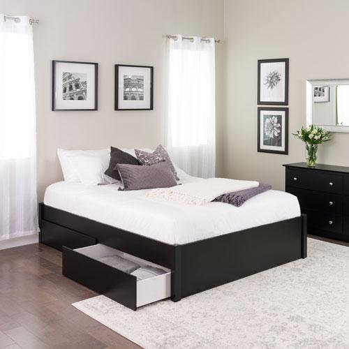Select Modern Platform Bed with 2-Drawer Storage - Queen - Black ...