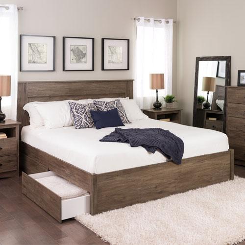 Lit plateforme moderne Select avec rangement à 4 tiroirs - Très grand lit - Gris vieilli