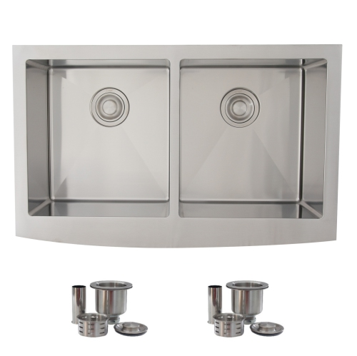 33 inches farmhouse apron deep double bowl 16 guage stainless steel rh bestbuy ca Elkay Kitchen Sinks Stainless Steel Stainless Steel Undermount Double Sink