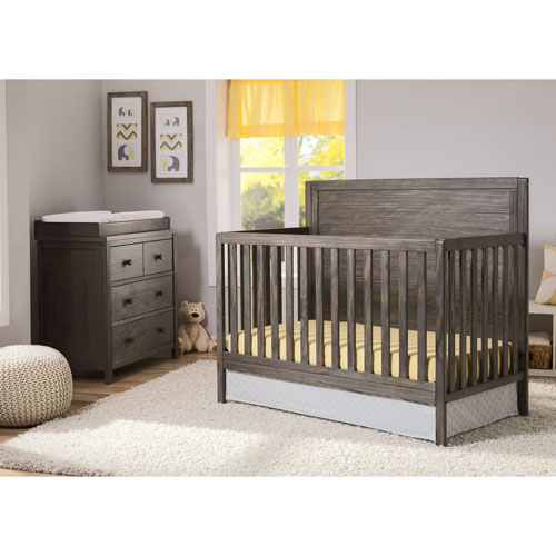 87546fc14a1 Delta Children Urban Farmhouse 4-in-1 Convertible Crib - Rustic Grey   Baby  Cribs - Best Buy Canada