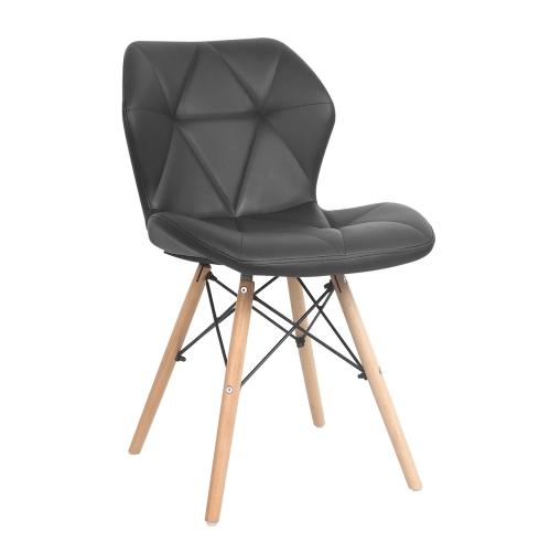 ViscoLogic REVER Eames Style Chaise En Cuir Rembourre Eiffel Avec Siges Bois Naturel Noir