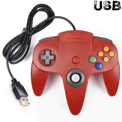Classic Retro N64 Bit USB Wired Controller for Windows PC MAC Linux  Raspberry Pi 3 (Red)