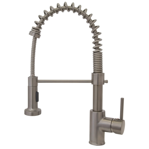 Spring Brushed Nickel Mixer Pull Down Sprayer Single Handle Modern
