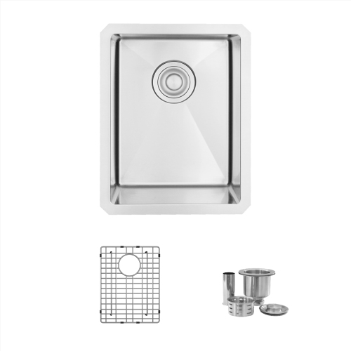 14'' L x 18'' W Undermount 18 Gauge Single Bowl Bar Sink with Strainer and Grid, S-310G
