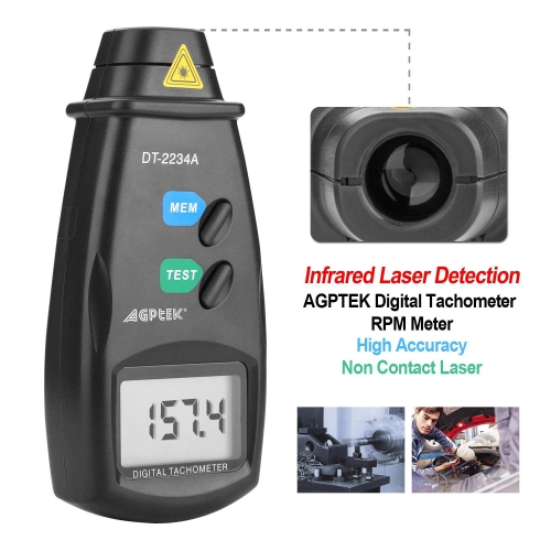 20713A Digital Tachometer RPM Meter, Non Contact Laser Photo, 2 5-99,999  RPM Accuracy, With Batteries Included,Reflective Tape