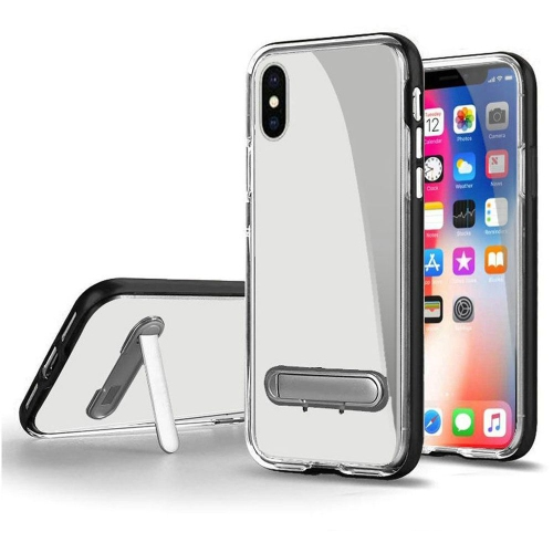 brand new 37572 e9b80 Insten Hard Clear Plastic Cover Case w stand For Apple iPhone XS X, Black