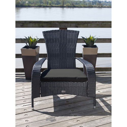 Lakeside Resin Wicker Adirondack Patio Chair With Cushion Black Only At Best Buy