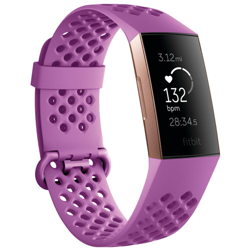 b5321be618c2 Fitbit Charge 3 Fitness Tracker with Heart Rate Monitor - Berry Sport Rose  Gold - Only at Best Buy   Fitness Trackers - Best Buy Canada