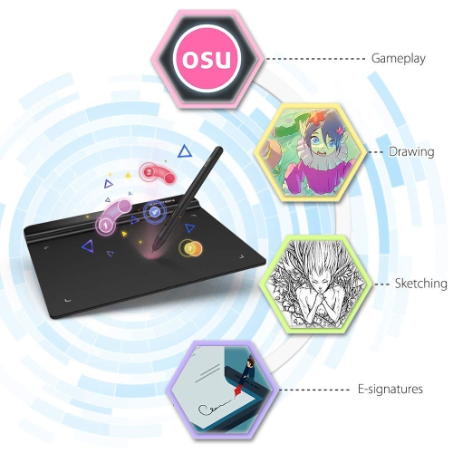 6x4 inch OSU! Ultrathin Tablet Drawing Tablet Digital Graphics Tablet with  Battery-Free Stylus(8192 Levels Pressure)
