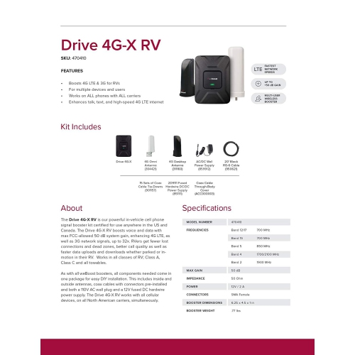 weBoost Drive 4G-X RV [Multi User] In-Vehicle Cell Phone Signal Booster Kit  for RV, Motorhome, All Carriers 3G/4G LTE