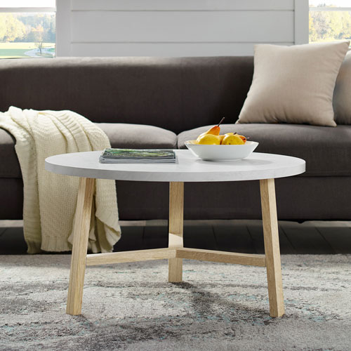 Winmoor Home Transitional Round Coffee Table White Light Oak Best Buy Canada