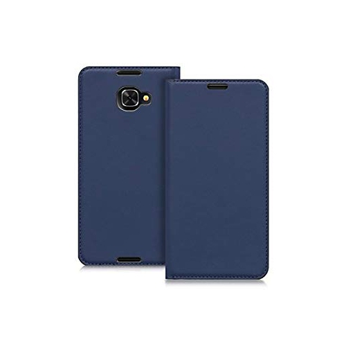 new product 6d6ee 1eb11 kwmobile Flip Case for Alcatel Idol 4S - Smooth PU Leather Slim Folio Cover  Protective Phone Holder - Dark Blue