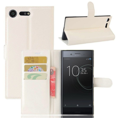 low priced fb394 af81d Leather Wallet Flip Case For Sony Xperia Xz1 - White
