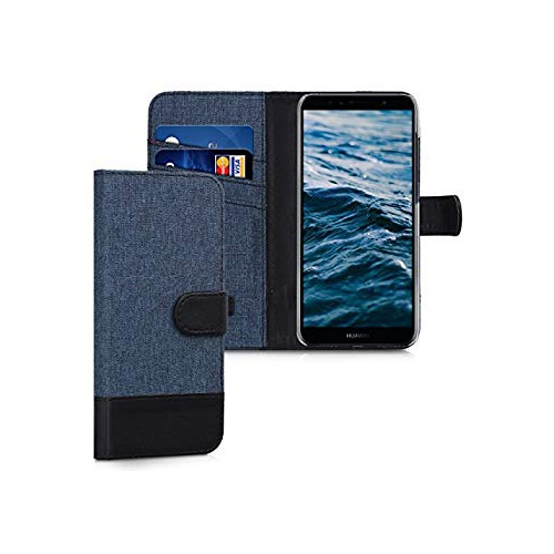 finest selection 1a784 f54ca kwmobile Wallet Case for Huawei Y6 (2018) - Fabric and PU Leather Flip  Cover with Card Slots and Stand - Dark Blue Black