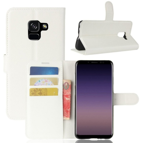low priced 74a23 aedf0 Leather Wallet Flip Case for Samsung Galaxy A8 2018 - White