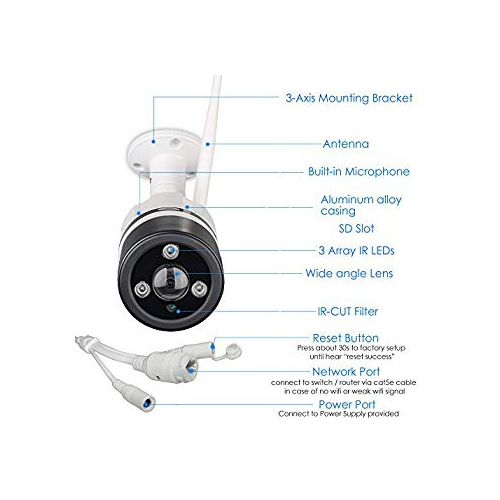 LONNKY Wireless Security Camera WiFi 1080P Ip Camera (2 0MP Bullet Outdoor  P2P Security System) 160 Degree Viewing Field Mo