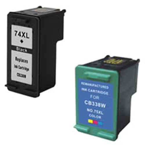 Amsahr 74XL(CB336WN) Remanufactured Replacement HP Ink Cartridges for  Select Printers Faxes with 1 Black and 1 Color Ink Cartr