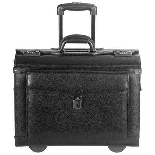 Mallette à catalogues en cuir Business de Mancini pour portable de 17 po - Noir