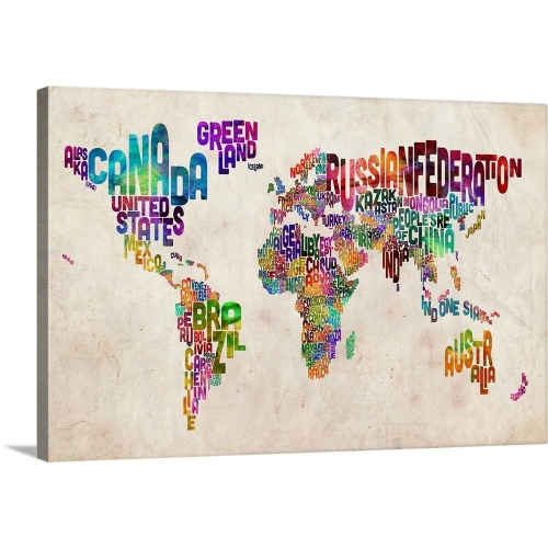 Michael tompsett premium thick wrap canvas wall art print 24x16 michael tompsett premium thick wrap canvas wall art print 24x16 entitled world map made up of country names wall art best buy canada gumiabroncs Choice Image