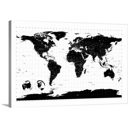 Michael tompsett premium thick wrap canvas wall art print 24x16 michael tompsett premium thick wrap canvas wall art print 24x16 entitled world map with longitude and latitude lines marked wall art best buy canada gumiabroncs Choice Image