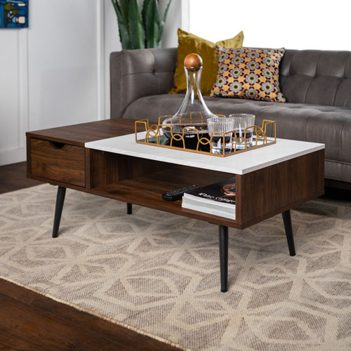 Buy Online Marble Top Coffee Table: Winmoor Home Transitional Rectangular Coffee Table