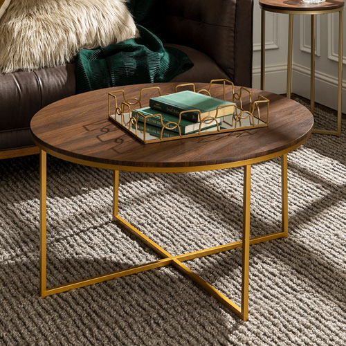 Buy Gold Coffee Table: Winmoor Home Transitional Round Coffee Table