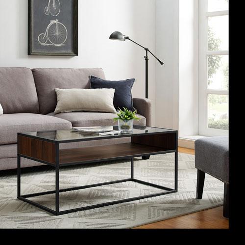 Winmoor Home Transitional Rectangular Coffee Table - Dark Walnut/Metal