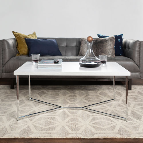Winmoor Home Transitional Rectangular Coffee Table White Marble
