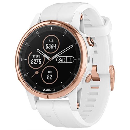 Montre GPS de 42 mm fenix 5S Plus Sapphire de Garmin avec repérage TOPO - Rose doré/blanc