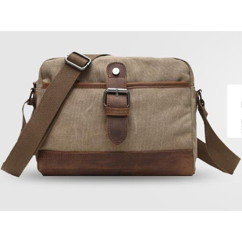 Canvas cross body small messenger bag with leather trim khaki - Online Only 0f64dd59e