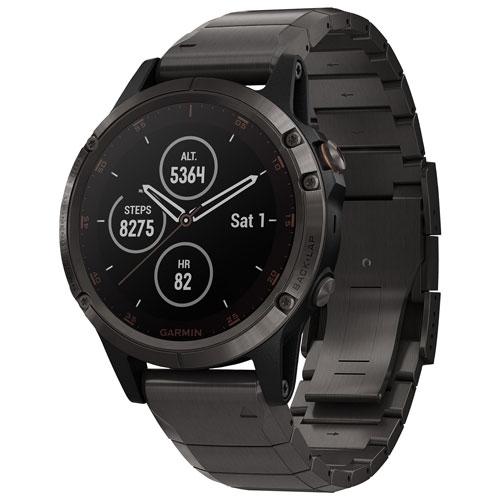 Garmin fenix 5 Plus Sapphire 47mm GPS Watch with TOPO Mapping - DLC Titanium