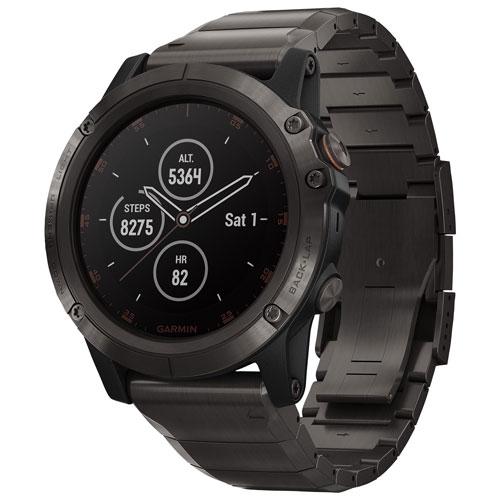 Garmin fenix 5X Plus Sapphire 51mm GPS Watch with TOPO Mapping - DLC Titanium