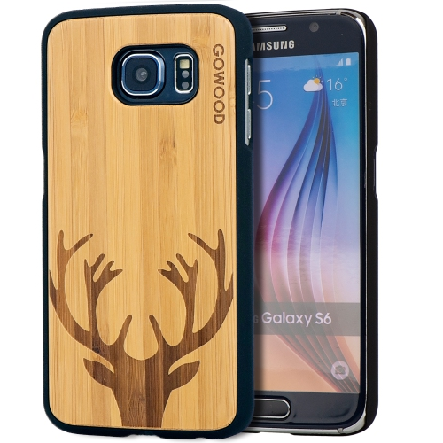 Samsung Galaxy S6 Wood Case   Real Bamboo Deer Design Engraved and Durable Polycarbonate Shockproof Bumper with Rubber Coating