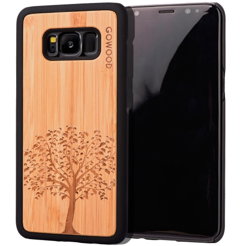 size 40 01db5 72d85 Samsung Galaxy S8 Wood Case   Real Bamboo Tree Design Engraved and Durable  Polycarbonate Shockproof Bumper with Rubber Coating