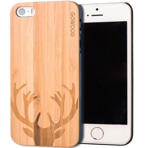 Étui iPhone 5 / 5S / SE en bois et côtés en polycarbonate – bambou avec gravure chevreuil